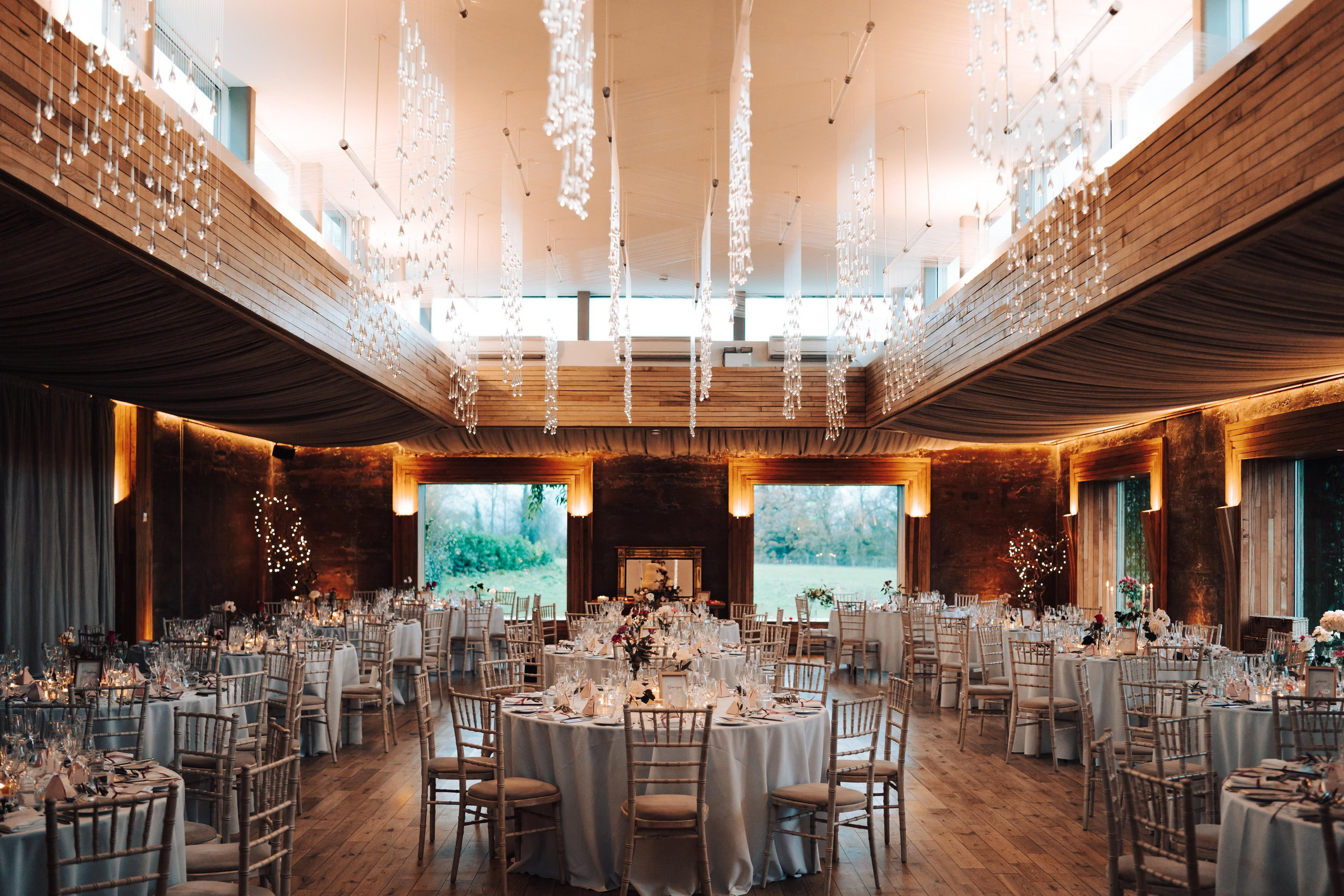 Winter wedding reception in the gillyflower at elmore court