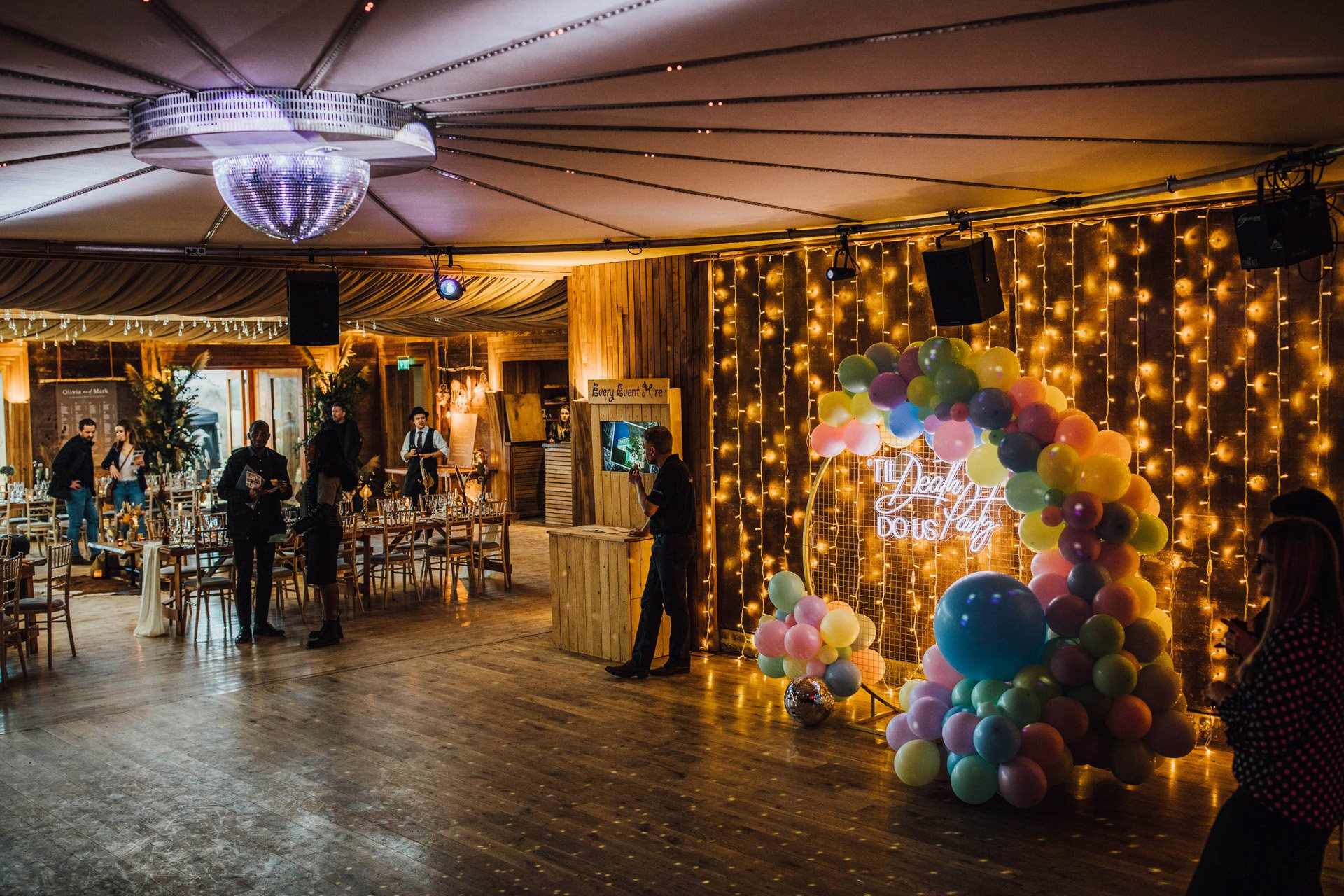 Disco lights and balloons for party wedding inspiration in The Gillyflower at Elmore Court