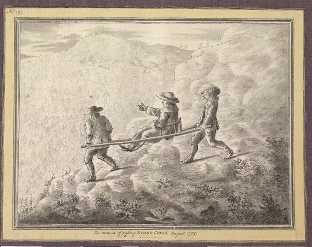 Sir William Guise of Elmore Court crosses the alps by Sedan chair- carried by two chair men paid half a crown