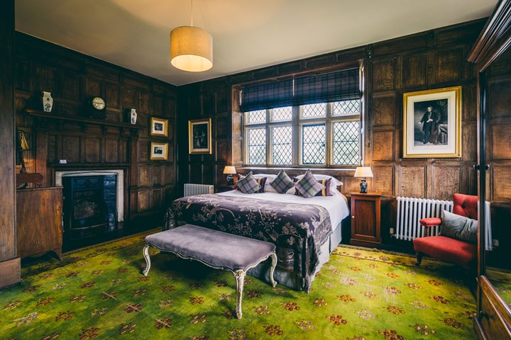 North Room at Elmore Court was Anselm Guise's bedroom. Now one of 16 bedrooms for wedding guest accommodation in the old house