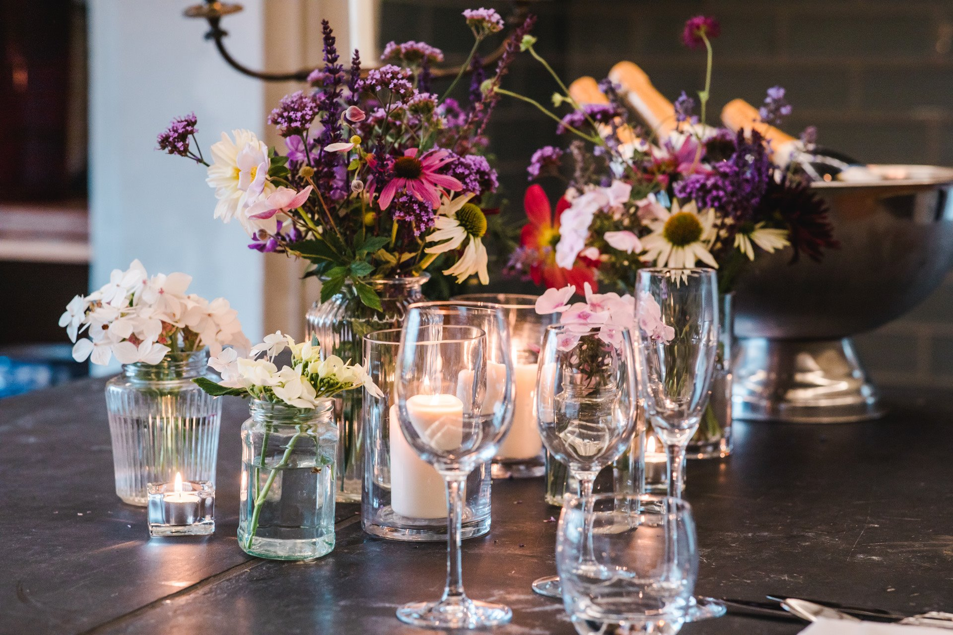 Fresh flowers and candles await you when you have a wedding tasting at elmore court in their newly opened victorian kitchens