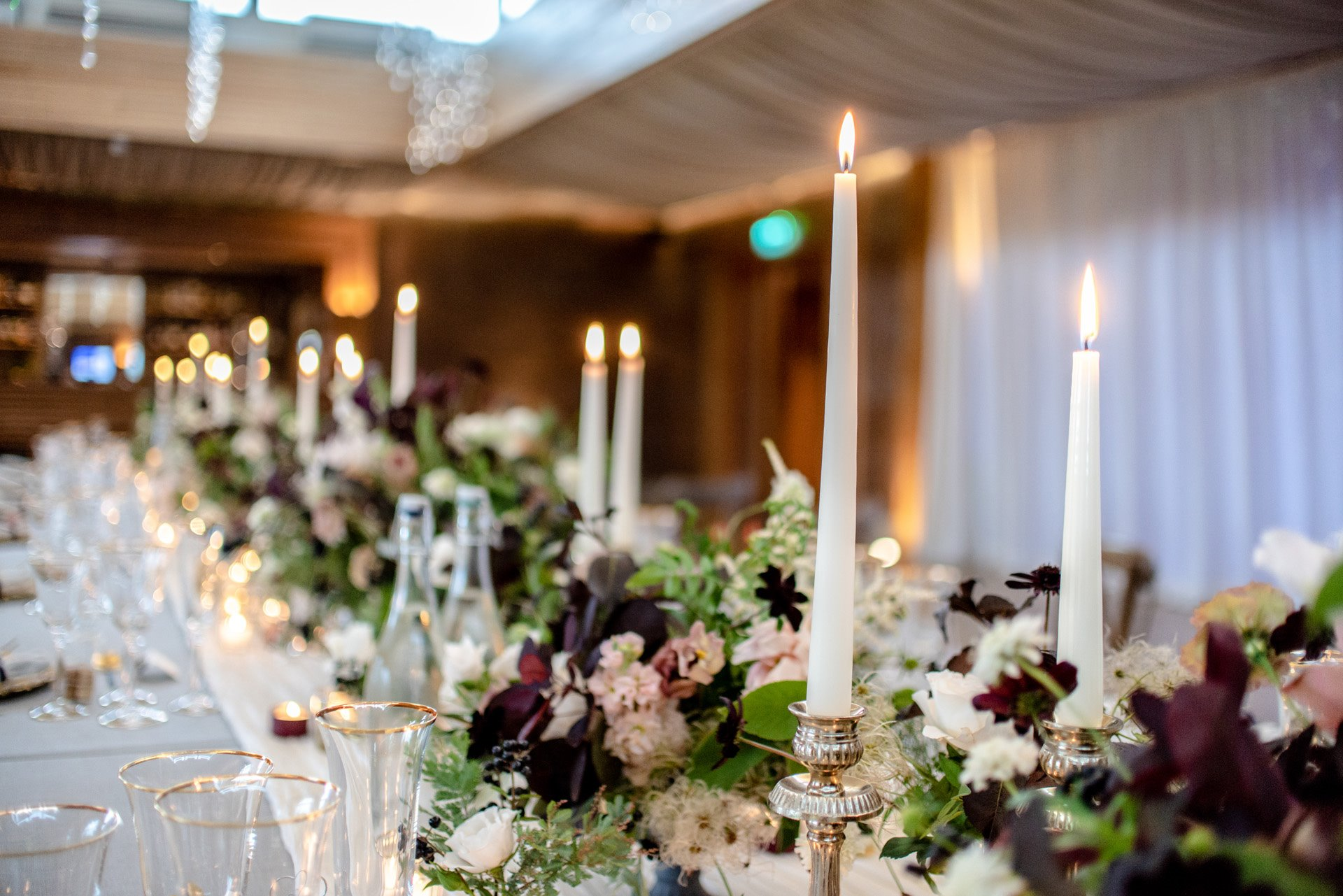 Candlelit micro wedding dinner table