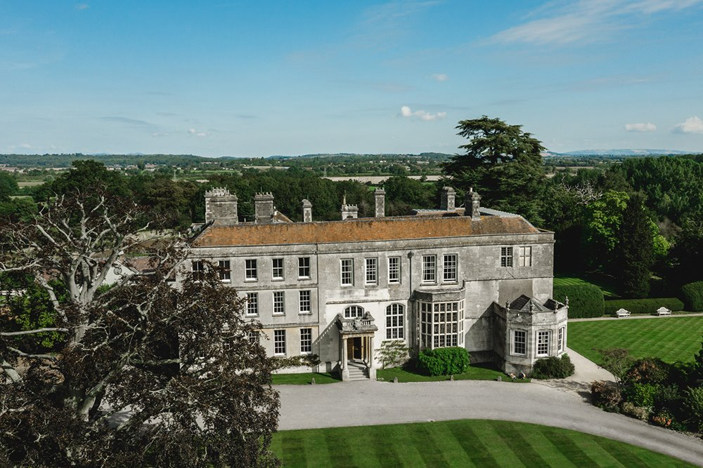 Stately home wedding venue Elmore Court from above