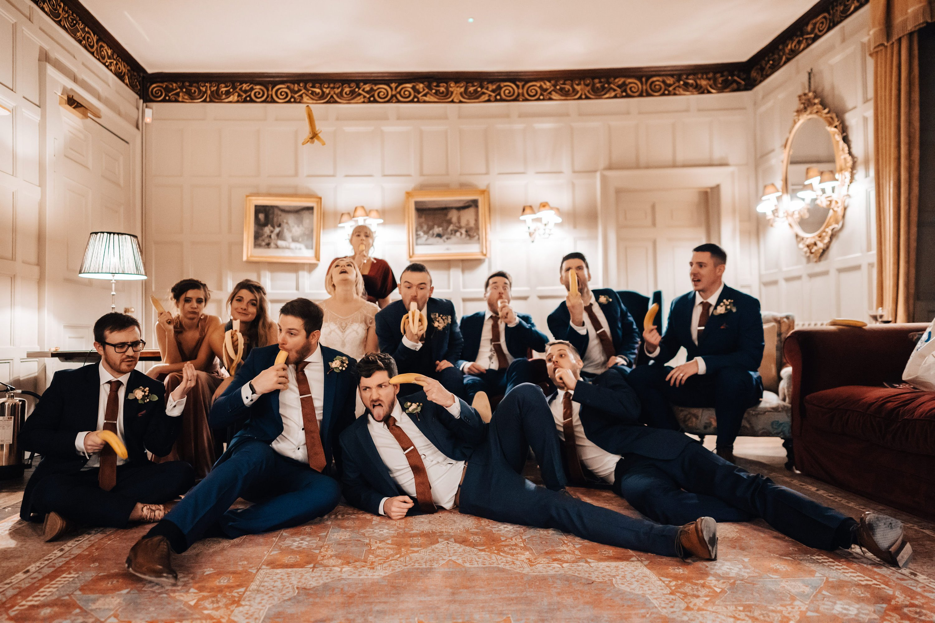 Fun indoor group shot wedding photography, when you can't go outside, get creative