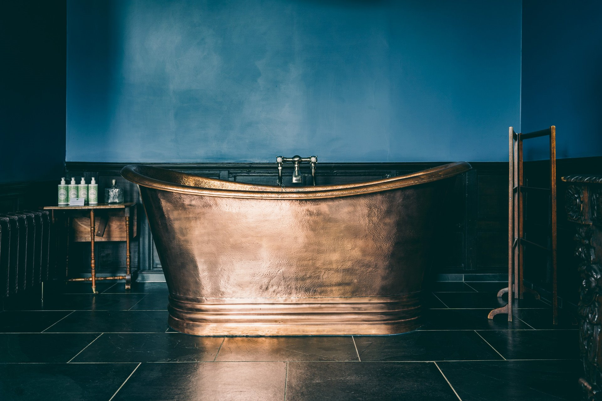 Copper bath in the oak bedroom at wedding venue elmore court