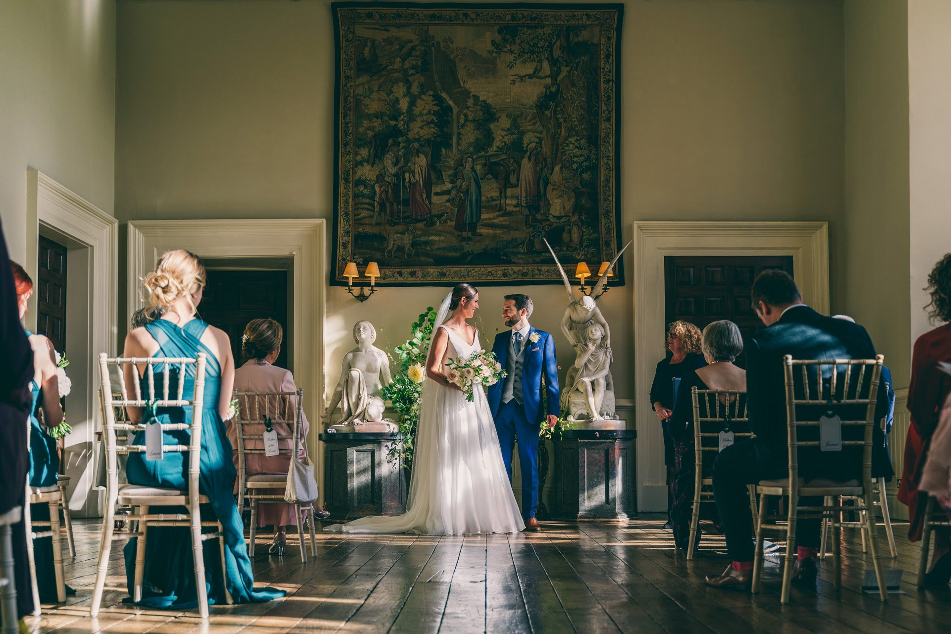 micro wedding ceremony in stately home hall